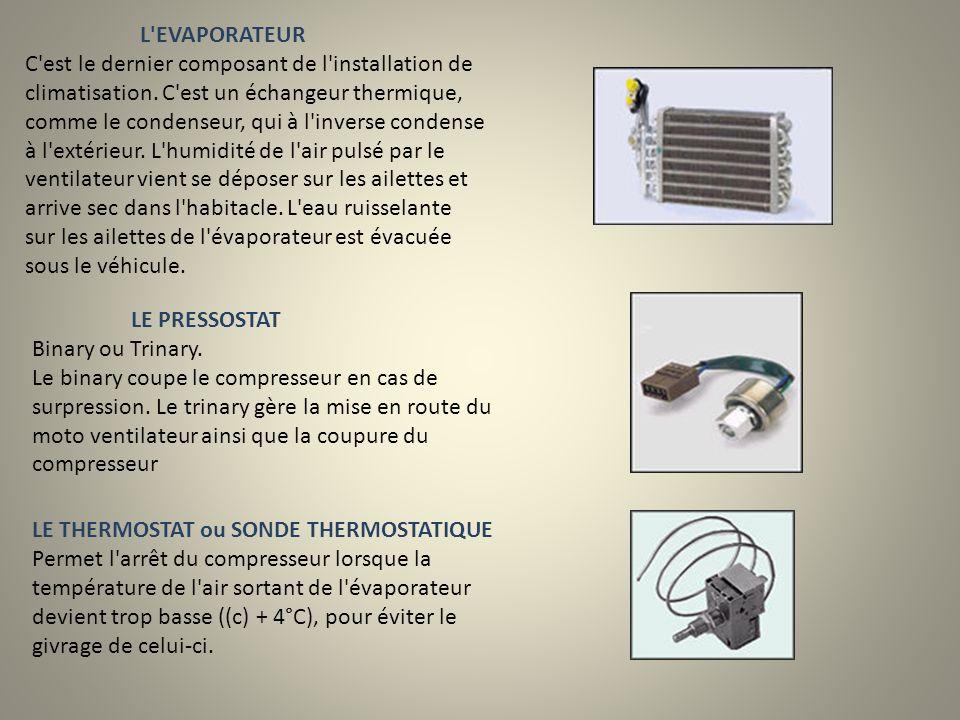 L EVAPORATEUR C est le dernier composant de l installation de climatisation. C est un échangeur thermique, comme le condenseur, qui à l inverse condense à l extérieur. L humidité de l air pulsé par le ventilateur vient se déposer sur les ailettes et arrive sec dans l habitacle. L eau ruisselante sur les ailettes de l évaporateur est évacuée sous le véhicule.
