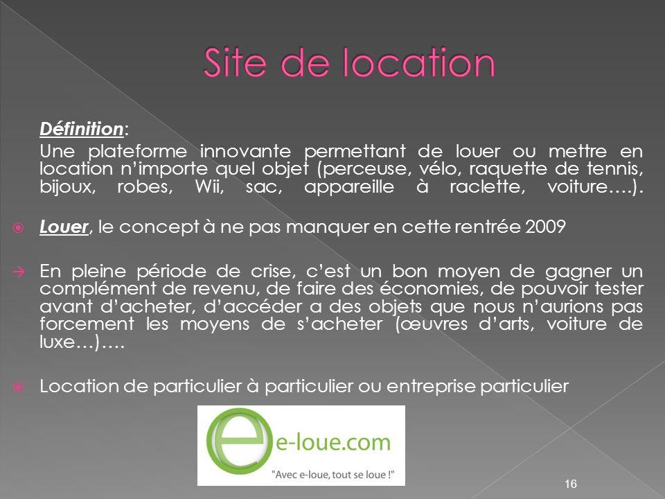 Site de location Définition: