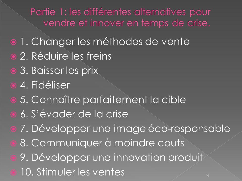 1. Changer les méthodes de vente 2. Réduire les freins