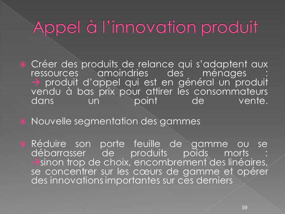Appel à l'innovation produit