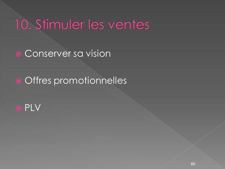 10. Stimuler les ventes Conserver sa vision Offres promotionnelles PLV