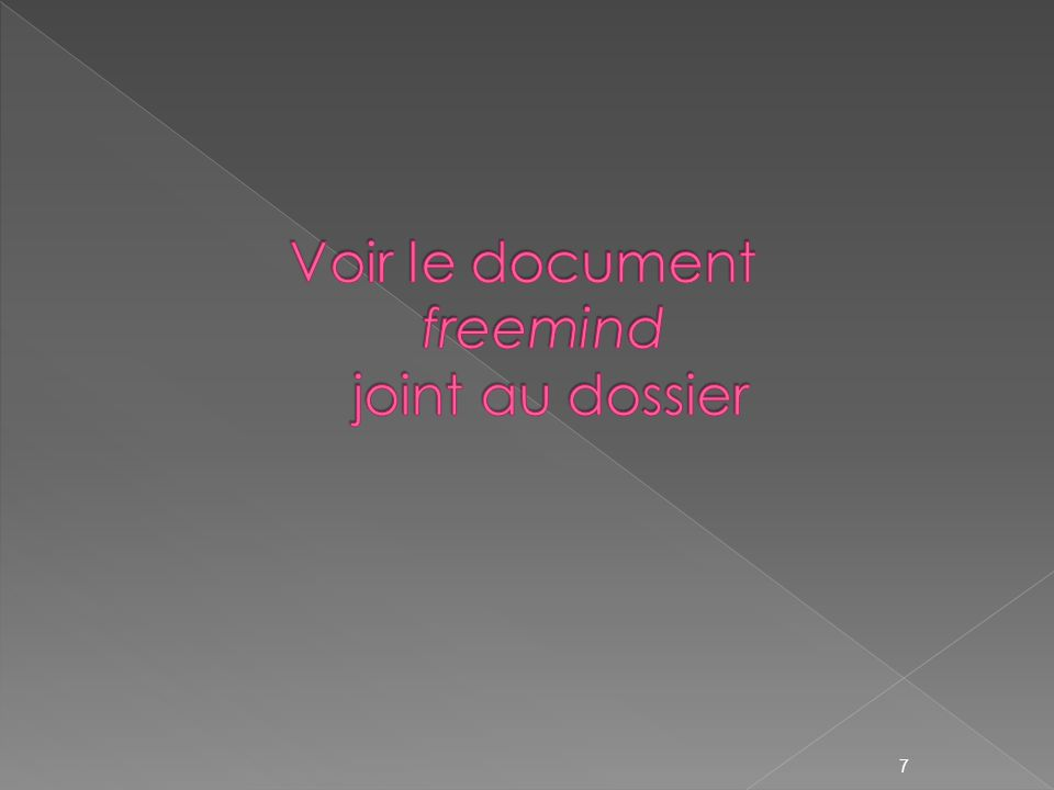 Voir le document freemind joint au dossier