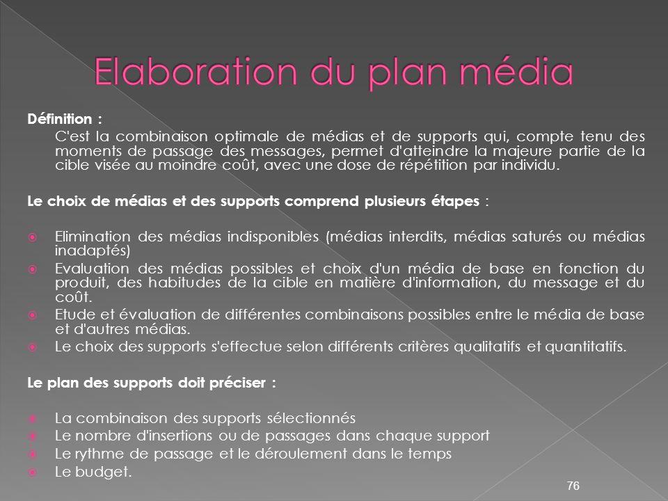 Elaboration du plan média