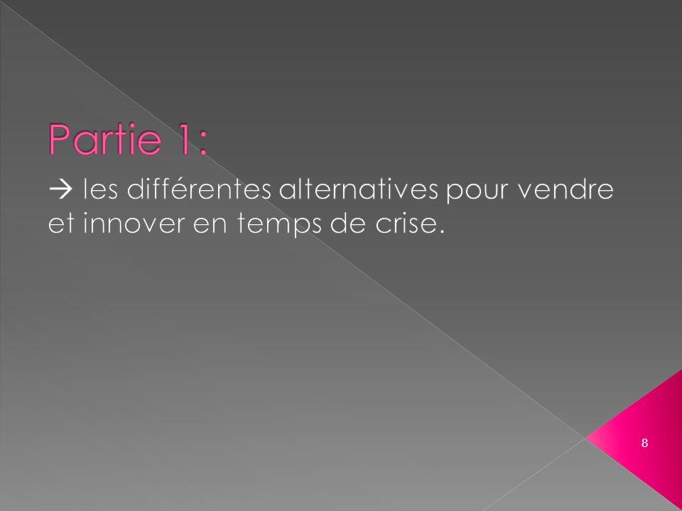 Partie 1:  les différentes alternatives pour vendre et innover en temps de crise.