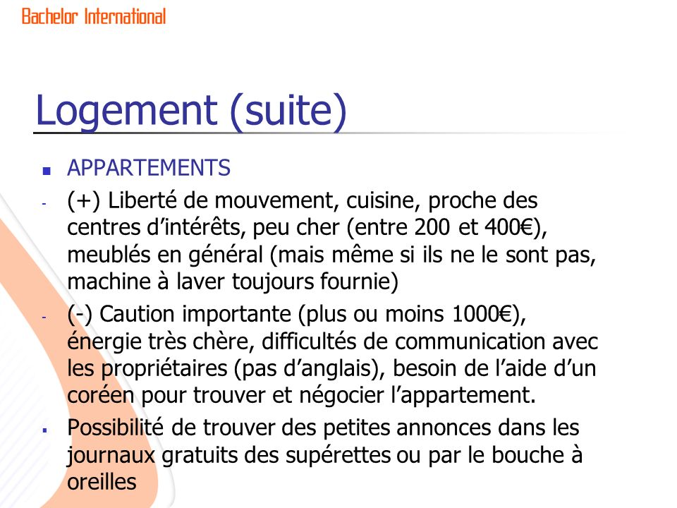 Logement (suite) APPARTEMENTS
