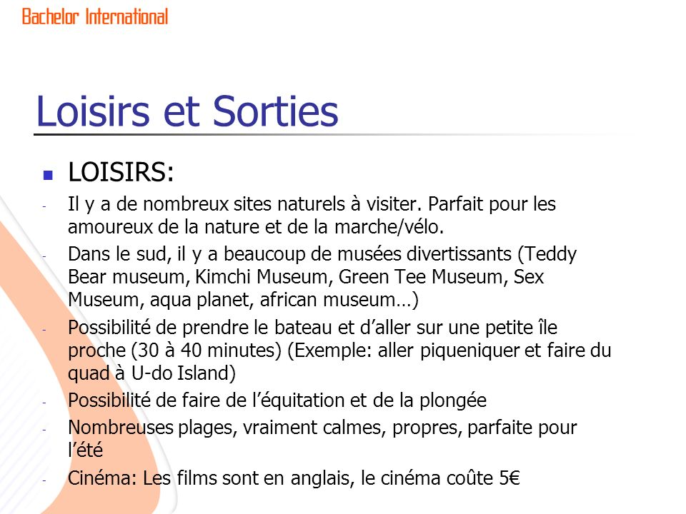 Loisirs et Sorties LOISIRS: