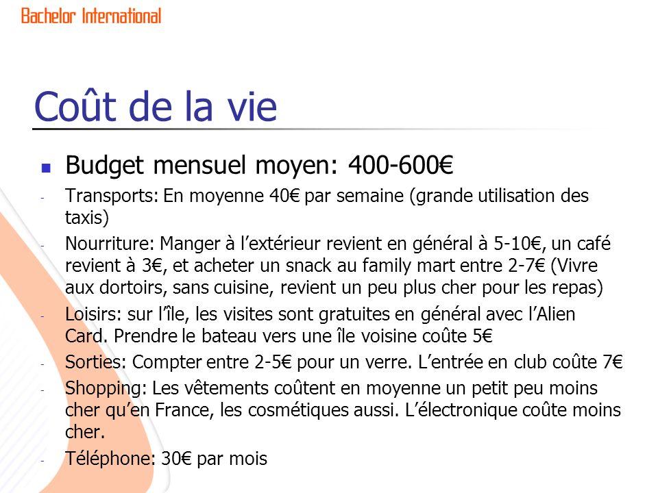 Coût de la vie Budget mensuel moyen: 400-600€
