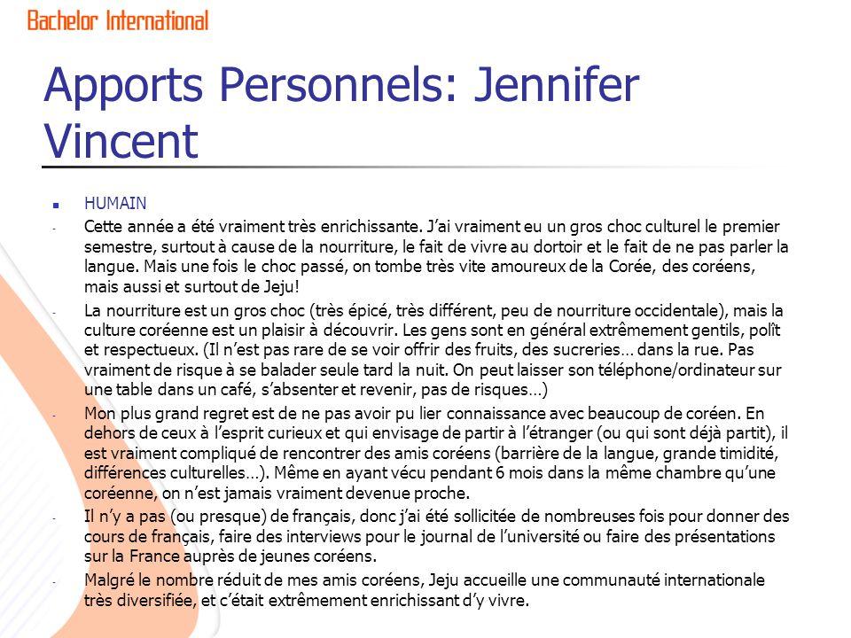 Apports Personnels: Jennifer Vincent