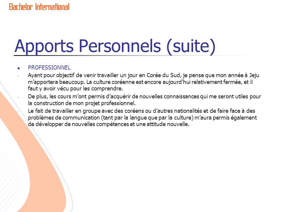 Apports Personnels (suite)