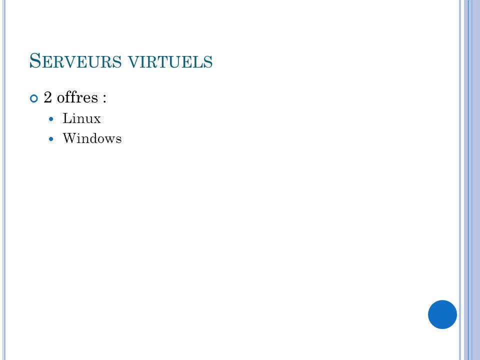 Serveurs virtuels 2 offres : Linux Windows
