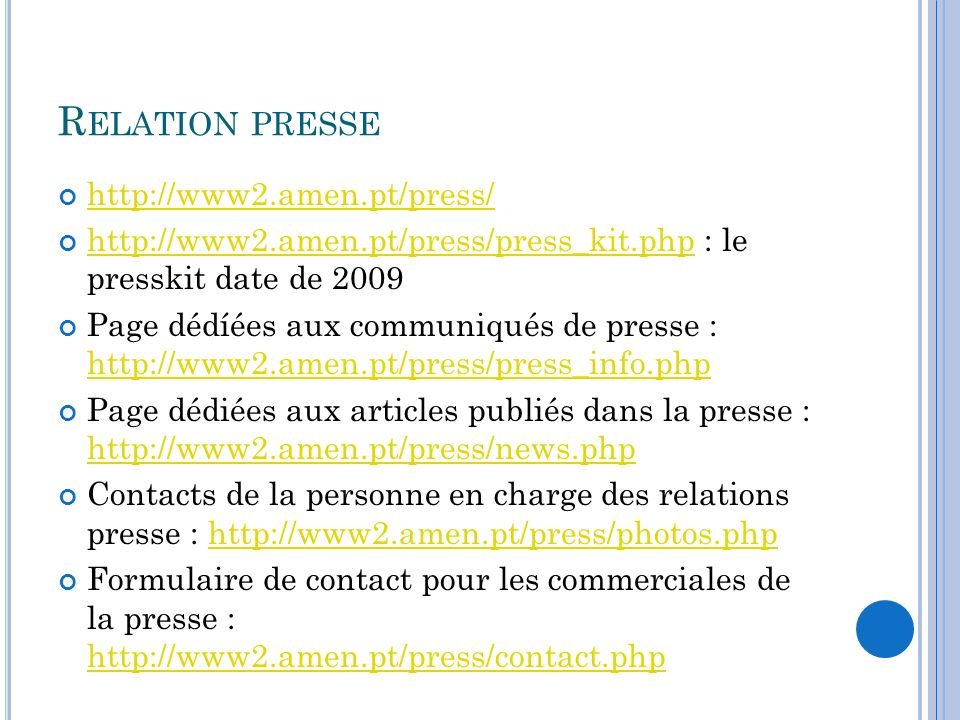 Relation presse http://www2.amen.pt/press/