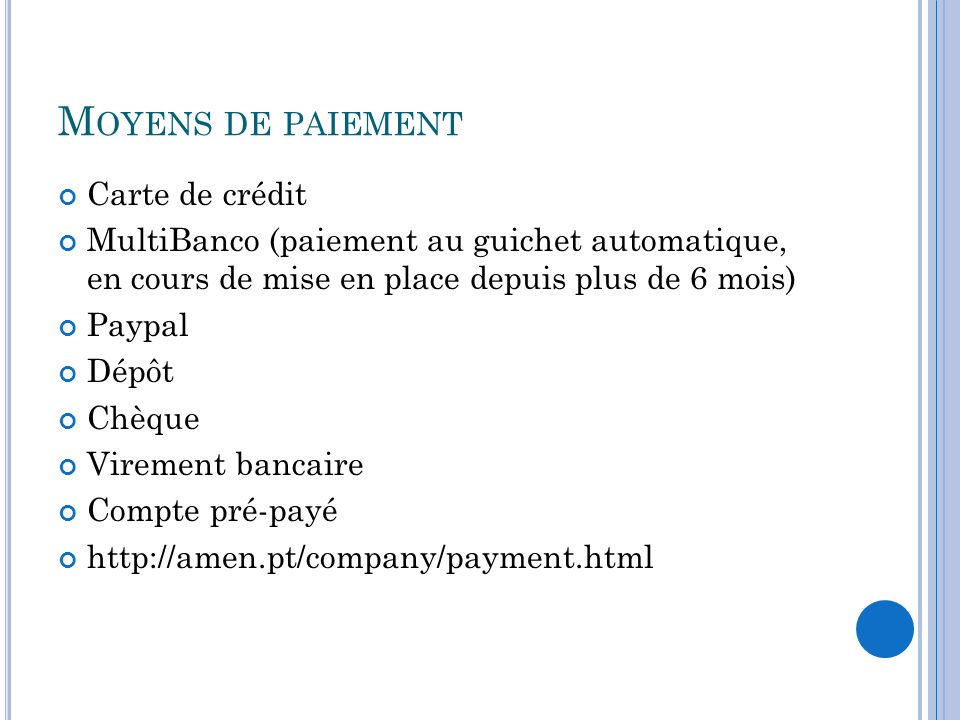 Moyens de paiement Carte de crédit