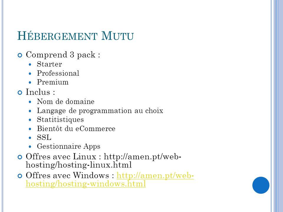 Hébergement Mutu Comprend 3 pack : Inclus :