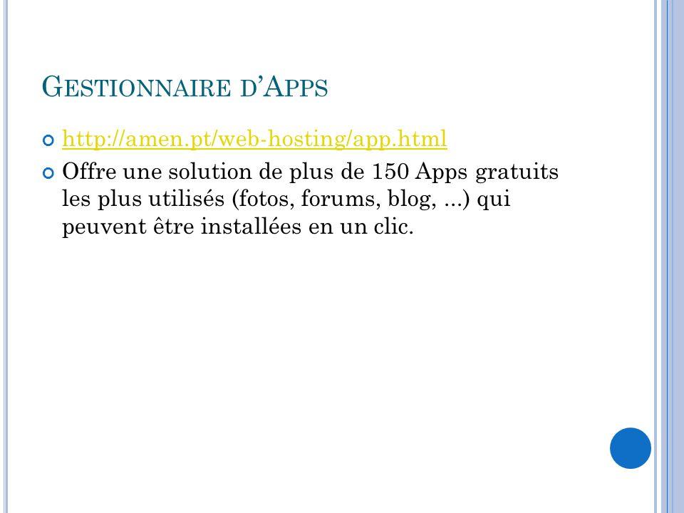 Gestionnaire d'Apps http://amen.pt/web-hosting/app.html