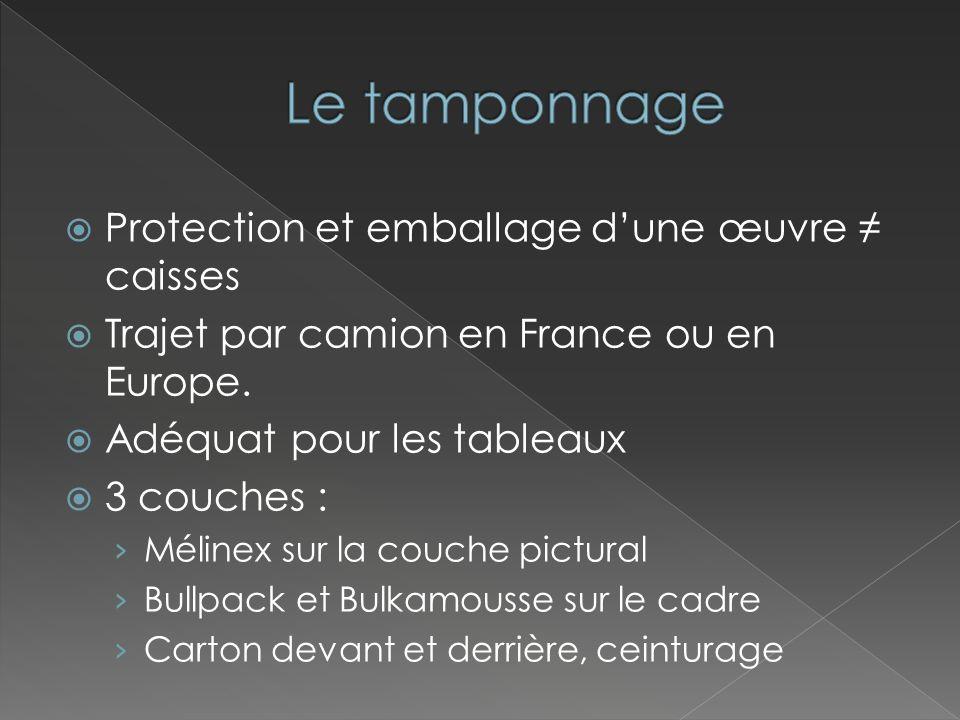 Le tamponnage Protection et emballage d'une œuvre ≠ caisses