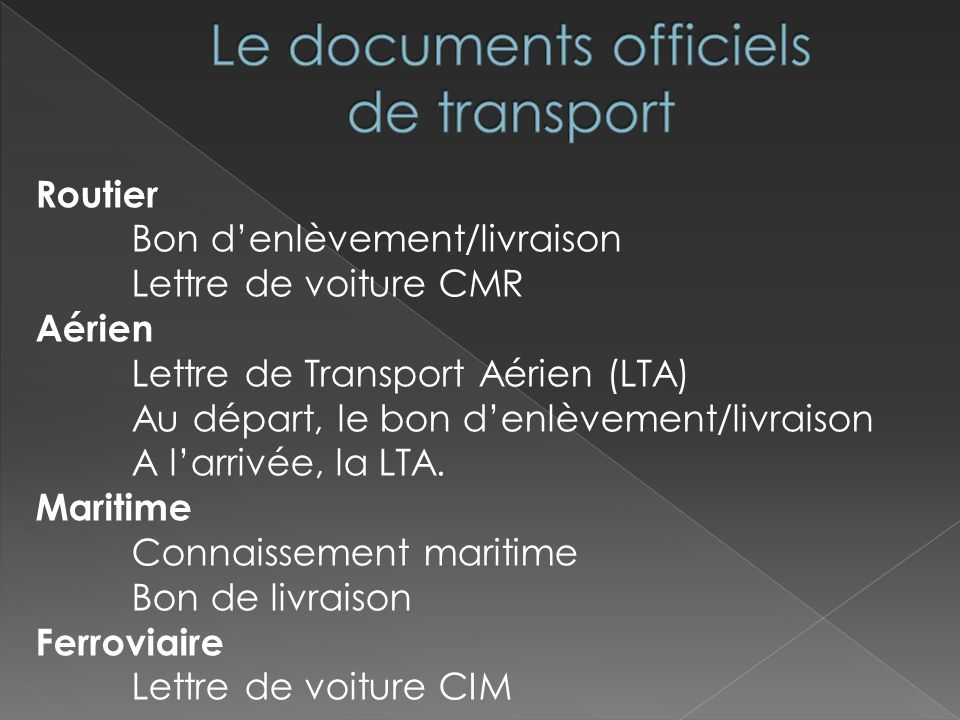 Le documents officiels de transport