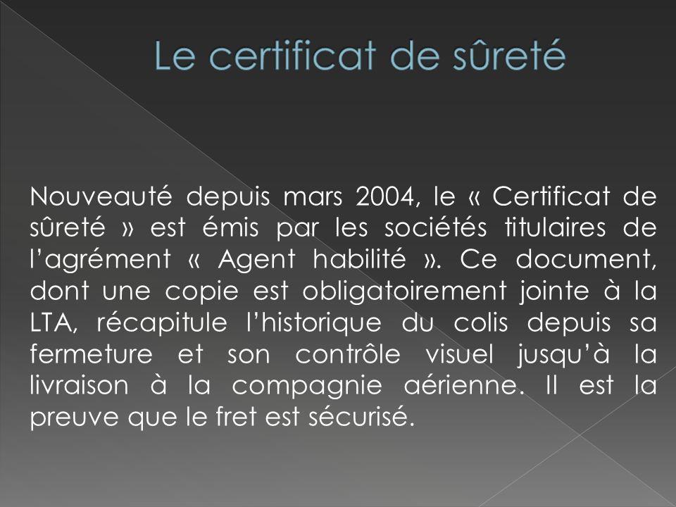 Le certificat de sûreté