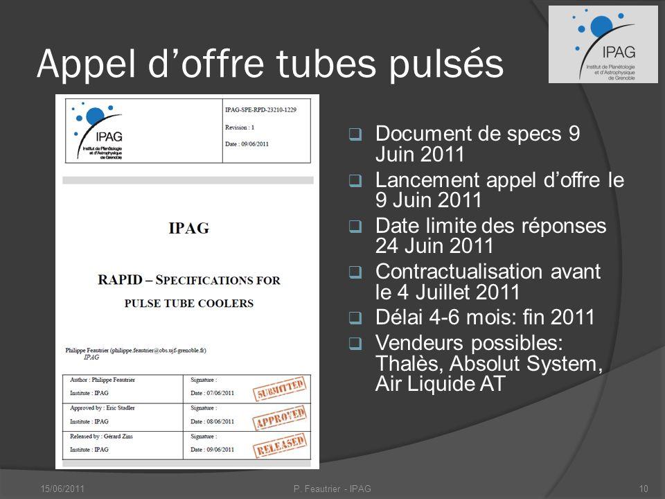 Appel d'offre tubes pulsés