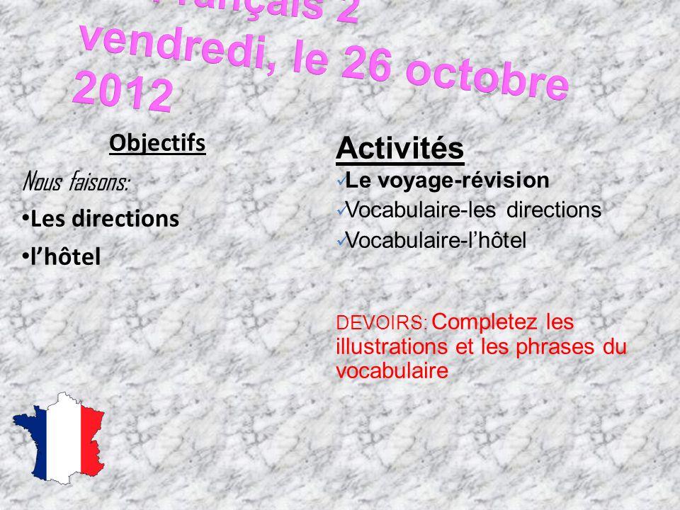 Français 2 vendredi, le 26 octobre 2012