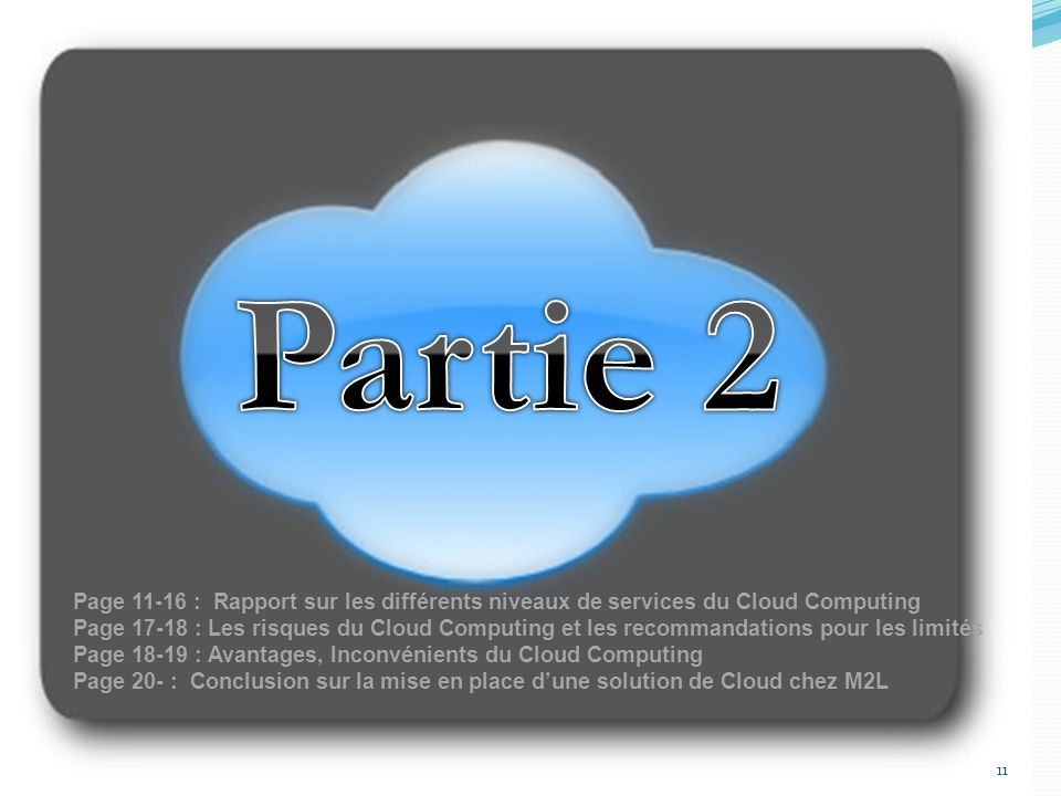 Partie 2 Page 11-16 : Rapport sur les différents niveaux de services du Cloud Computing.
