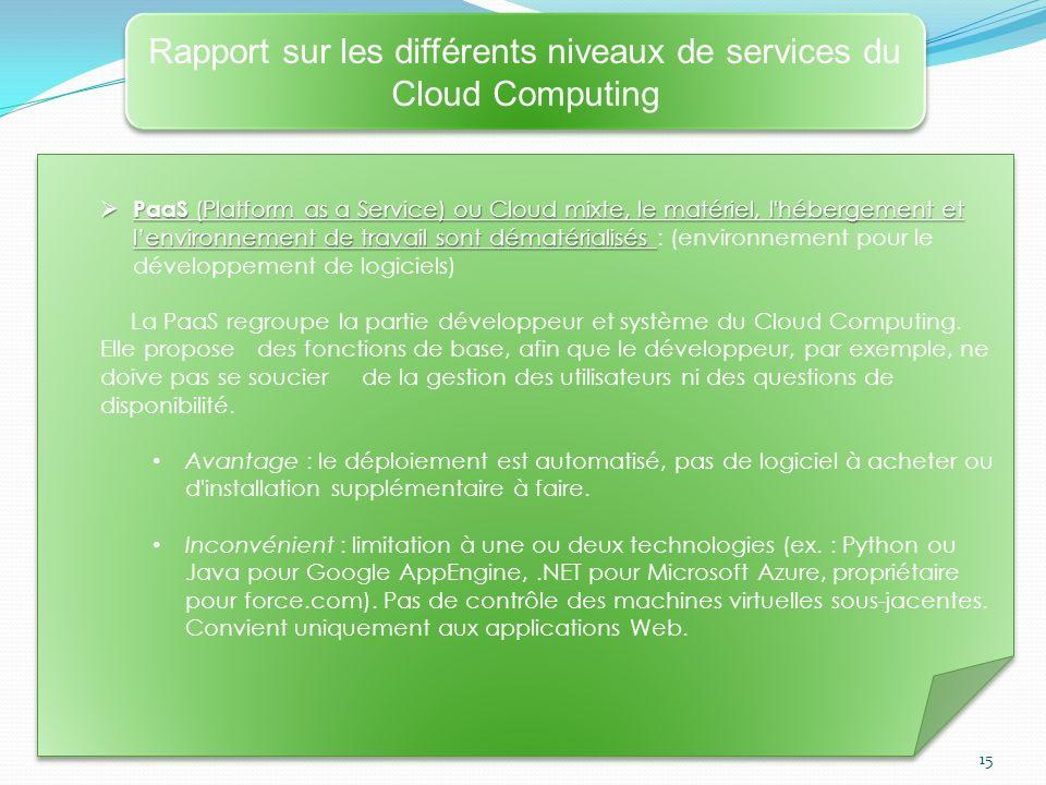 Rapport sur les différents niveaux de services du Cloud Computing
