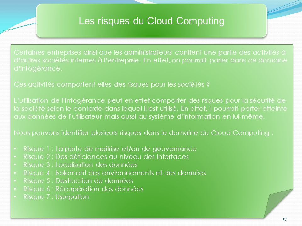Les risques du Cloud Computing