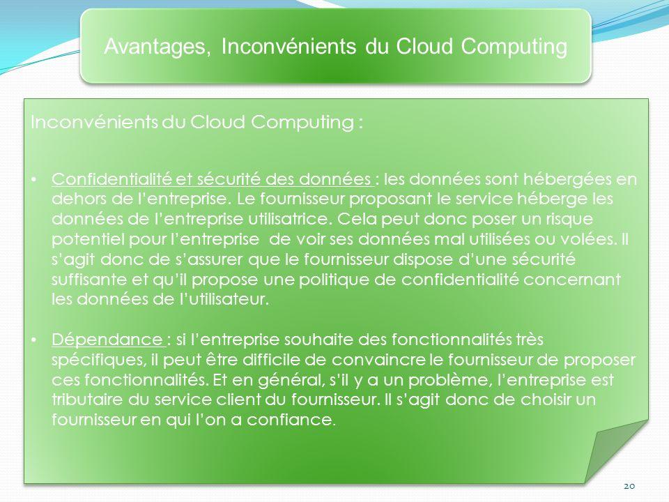 Avantages, Inconvénients du Cloud Computing