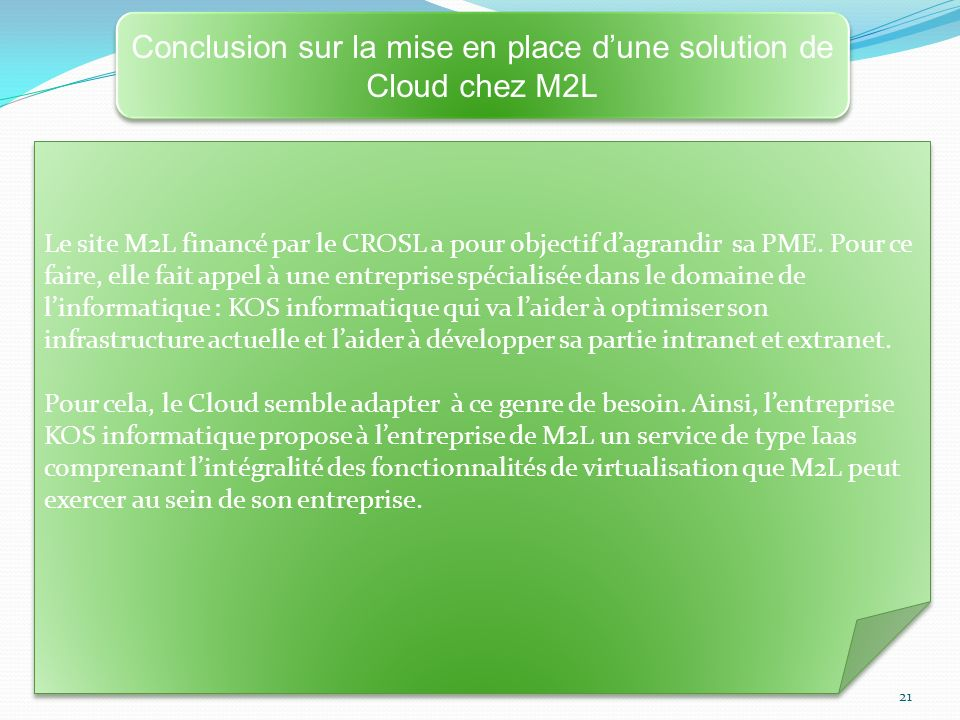 Conclusion sur la mise en place d'une solution de Cloud chez M2L