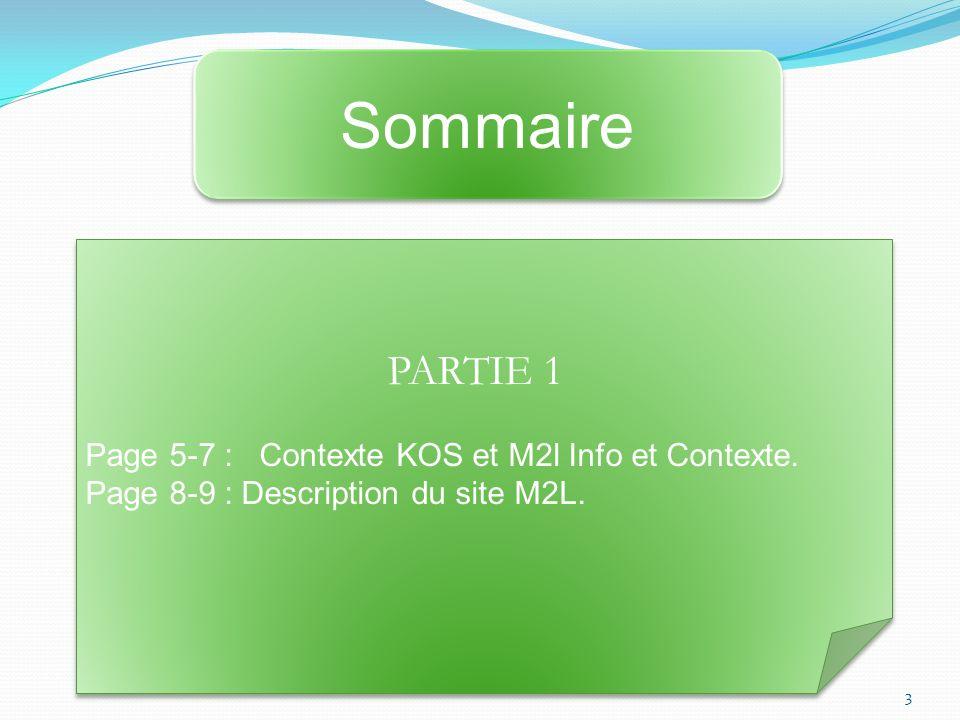 Sommaire PARTIE 1 Page 5-7 : Contexte KOS et M2l Info et Contexte.