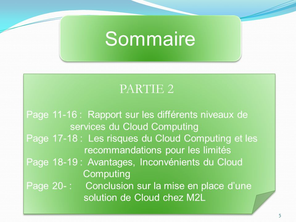 Sommaire PARTIE 2. Page 11-16 : Rapport sur les différents niveaux de services du Cloud Computing.