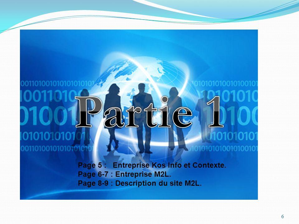 Partie 1 Page 5 : Entreprise Kos Info et Contexte.