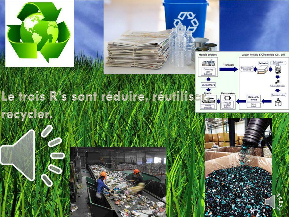 Le trois R's sont réduire, réutiliser, recycler.