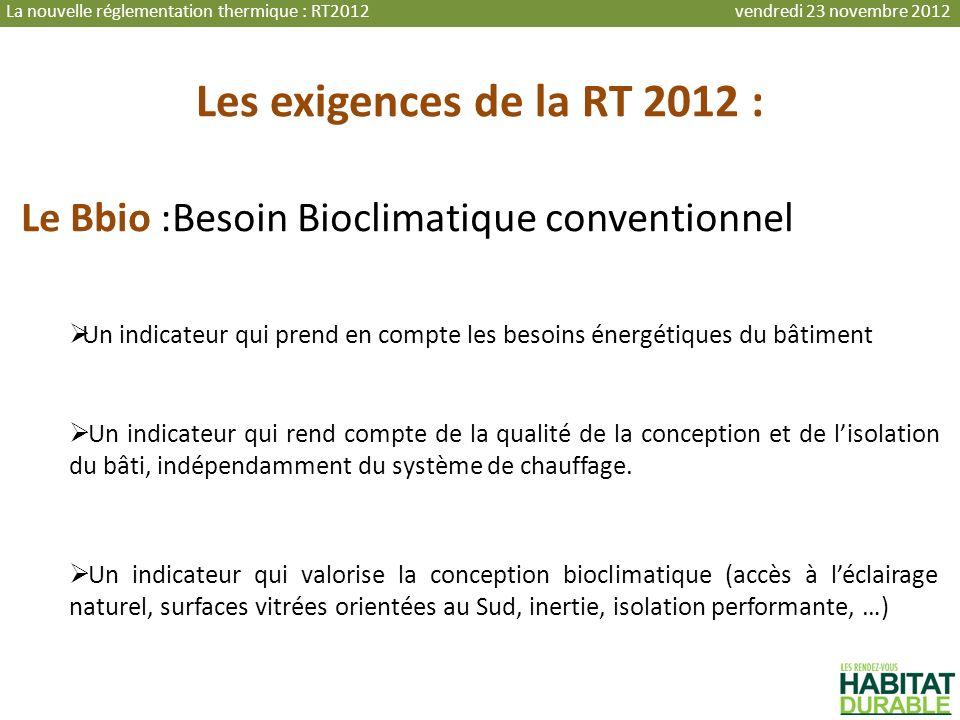 La nouvelle réglementation thermique : RT2012 vendredi 23 novembre 2012