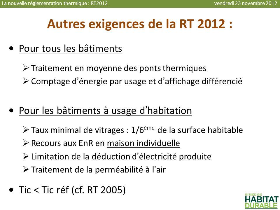 Autres exigences de la RT 2012 :