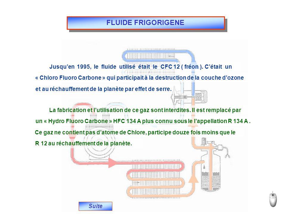 FLUIDE FRIGORIGENE Jusqu'en 1995, le fluide utilisé était le CFC 12 ( fréon ). C'était un.