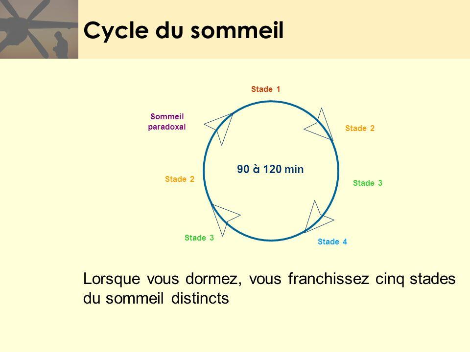 Cycle du sommeil Sommeil. paradoxal. 90 à 120 min. Stade 2. Stade 3. Stade 1. Stade 4. Les cinq stades du sommeil :