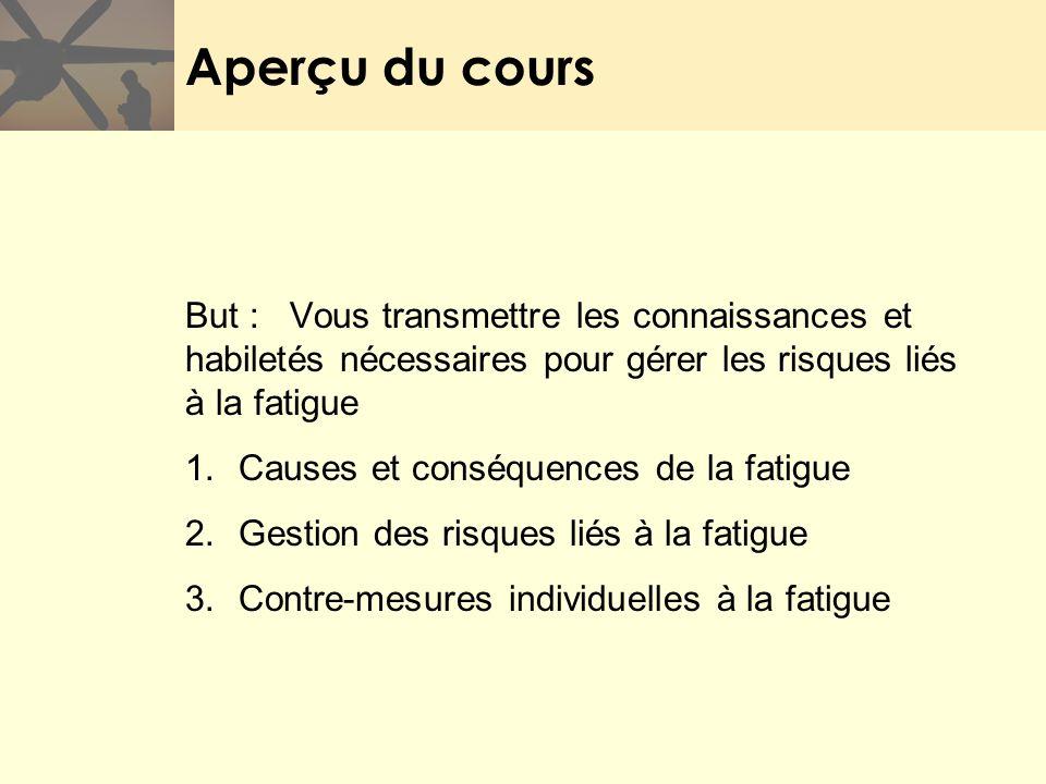 Aperçu du cours But : Vous transmettre les connaissances et habiletés nécessaires pour gérer les risques liés à la fatigue.