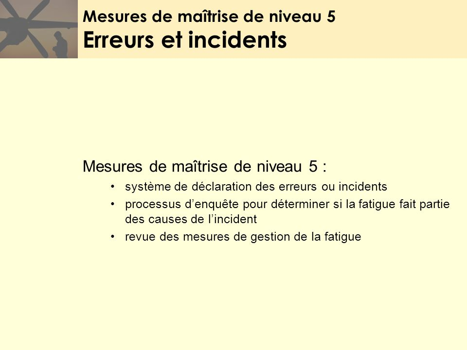 Mesures de maîtrise de niveau 5 Erreurs et incidents