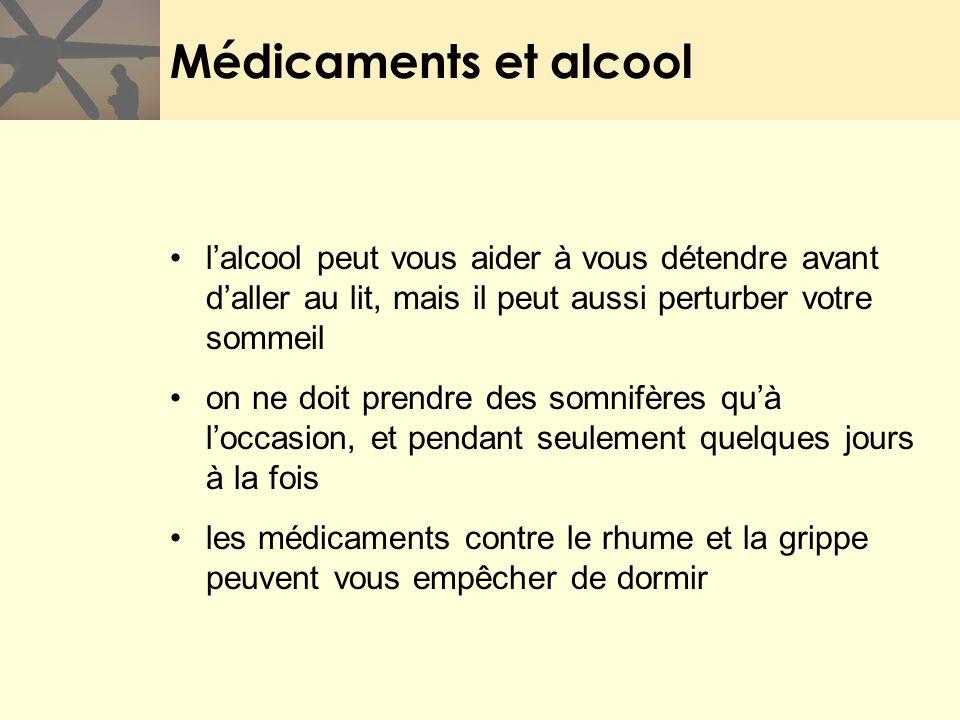 Médicaments et alcool l'alcool peut vous aider à vous détendre avant d'aller au lit, mais il peut aussi perturber votre sommeil.