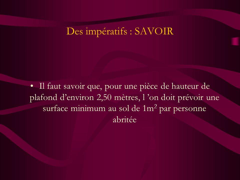 Des impératifs : SAVOIR