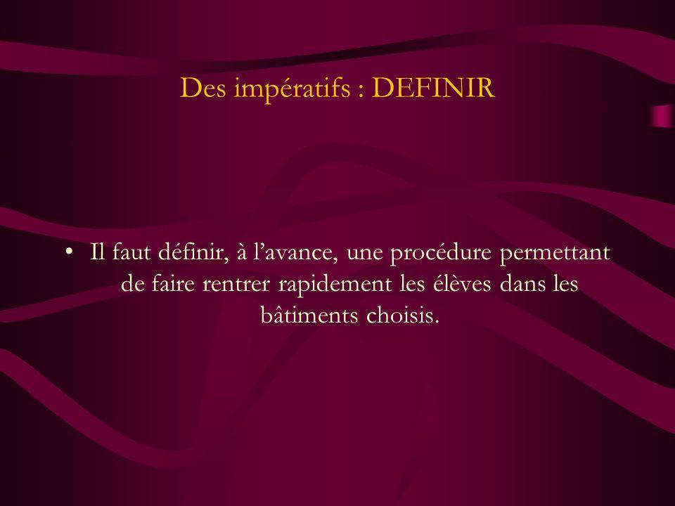 Des impératifs : DEFINIR