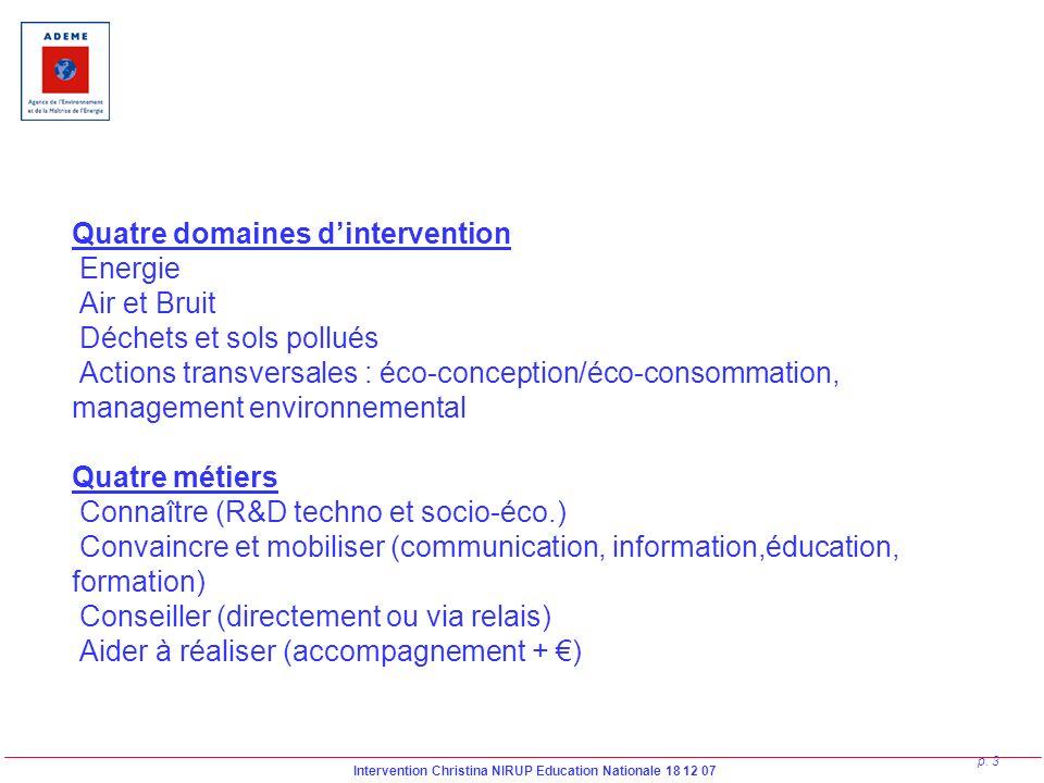 Quatre domaines d'intervention