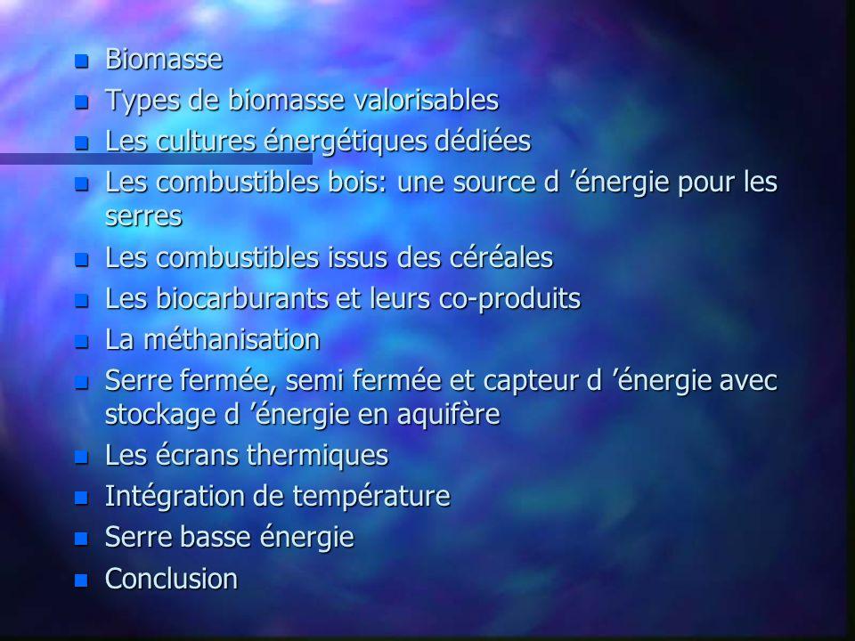 Biomasse Types de biomasse valorisables. Les cultures énergétiques dédiées. Les combustibles bois: une source d 'énergie pour les serres.