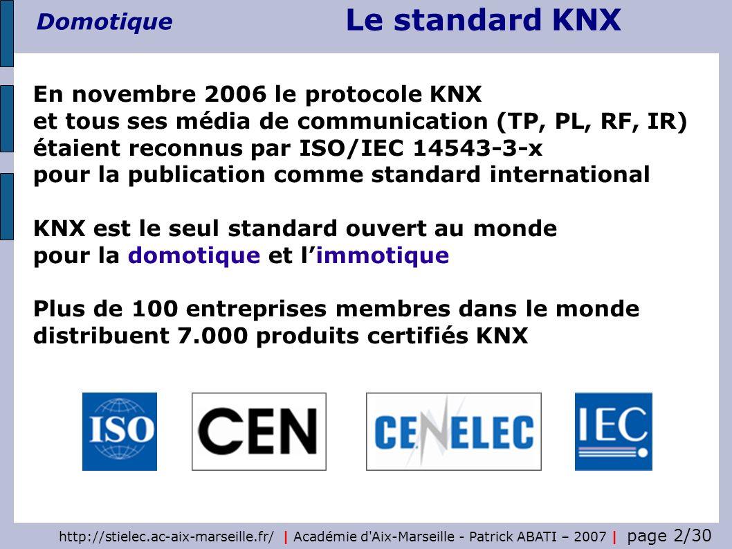 En novembre 2006 le protocole KNX et tous ses média de communication (TP, PL, RF, IR) étaient reconnus par ISO/IEC 14543-3-x pour la publication comme standard international