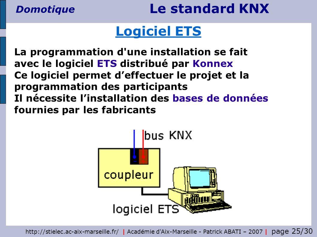Logiciel ETS La programmation d une installation se fait avec le logiciel ETS distribué par Konnex.