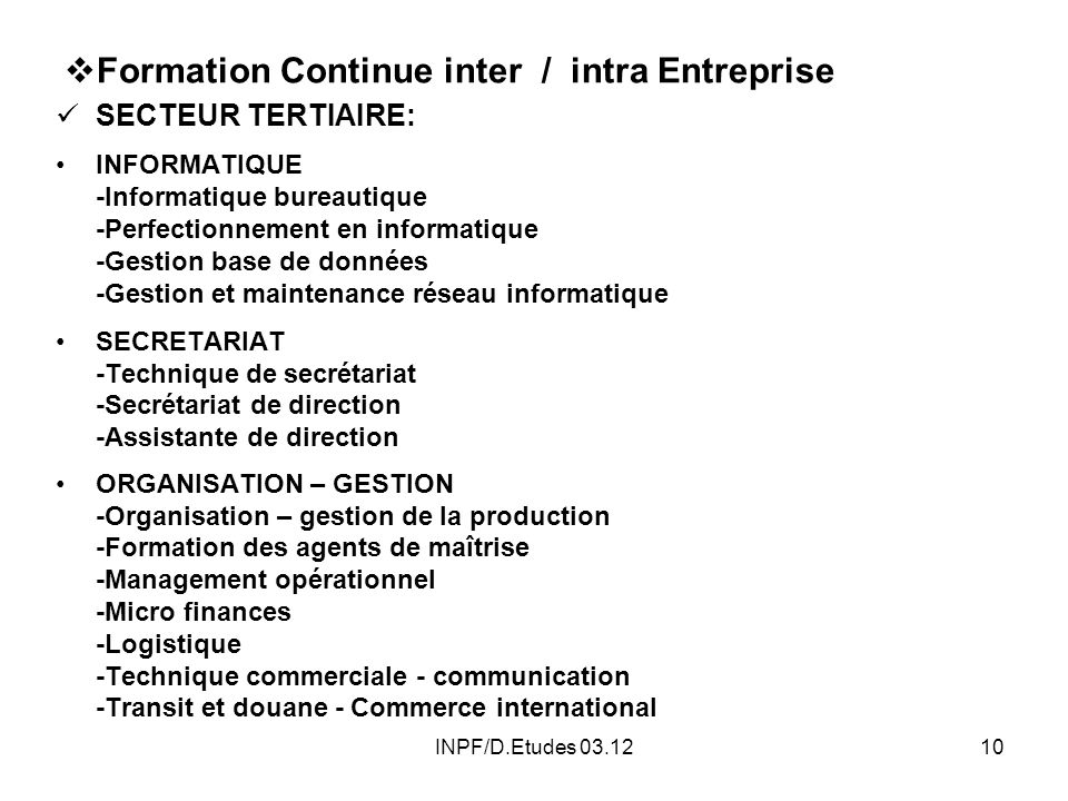Formation Continue inter / intra Entreprise