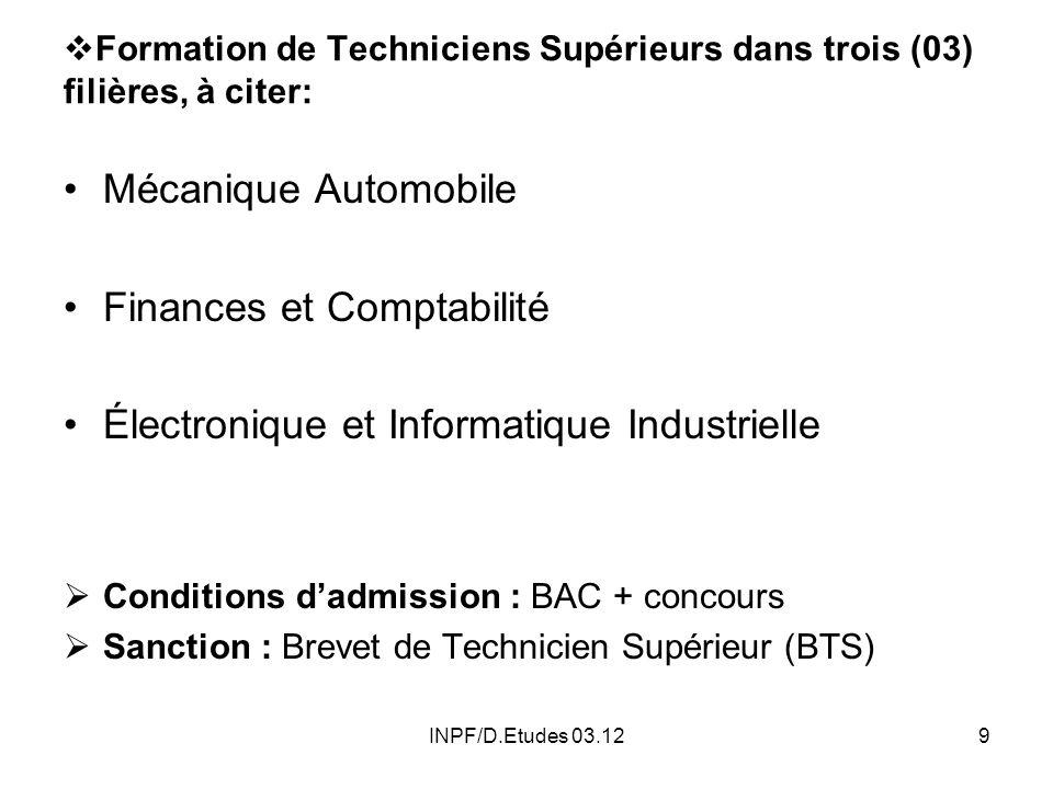 Formation de Techniciens Supérieurs dans trois (03) filières, à citer:
