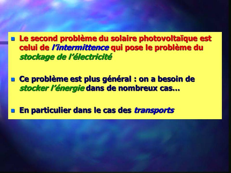 Le second problème du solaire photovoltaïque est celui de l'intermittence qui pose le problème du stockage de l'électricité
