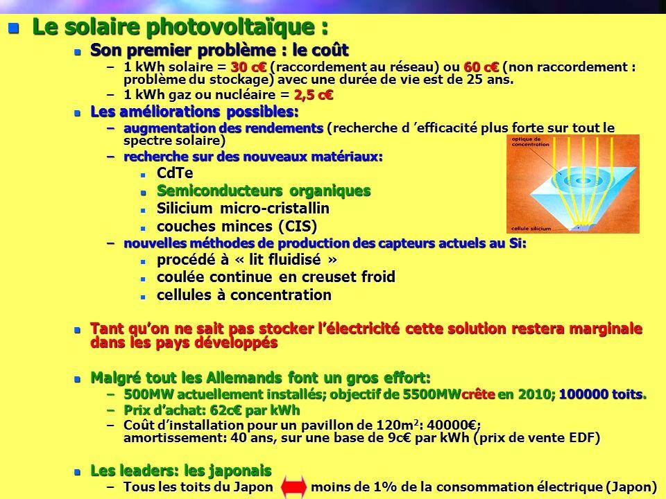 Le solaire photovoltaïque :