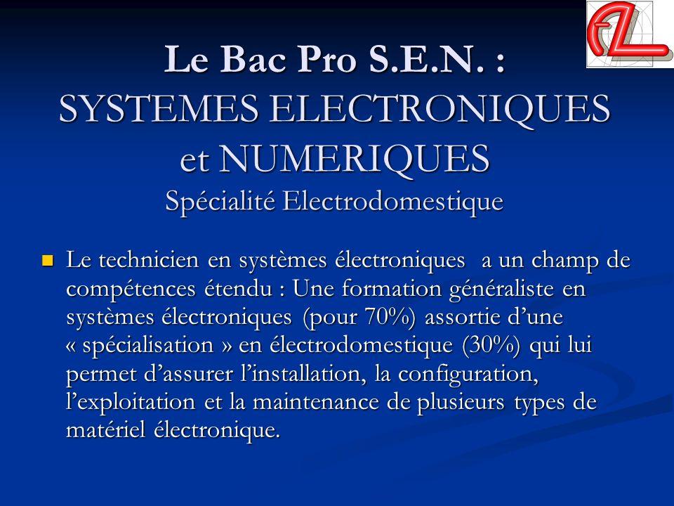 Le Bac Pro S.E.N. : SYSTEMES ELECTRONIQUES et NUMERIQUES Spécialité Electrodomestique